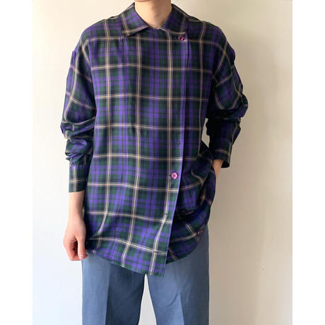 1980s Silk Shirts / Check / Purple