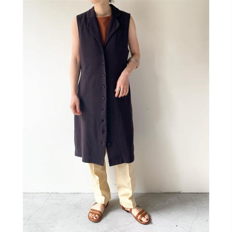 1980s Sleeveless Open Collar Cotton Onepiece