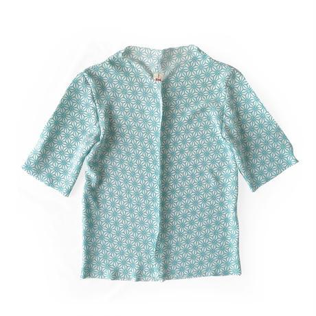 燐シャツ七分袖 〈ちりめん麻の葉 水色〉 men's