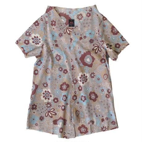 燐シャツ 半袖 〈時計草 青〉