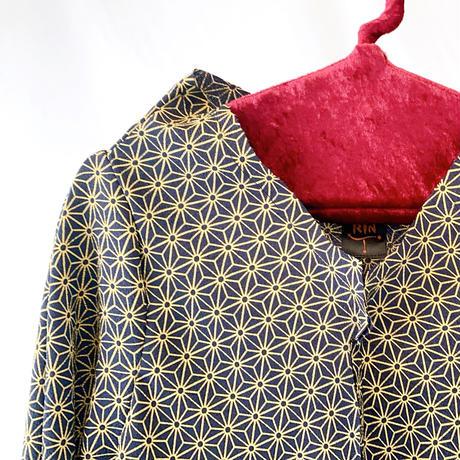 燐シャツ七分袖 〈ちりめん麻の葉 金〉