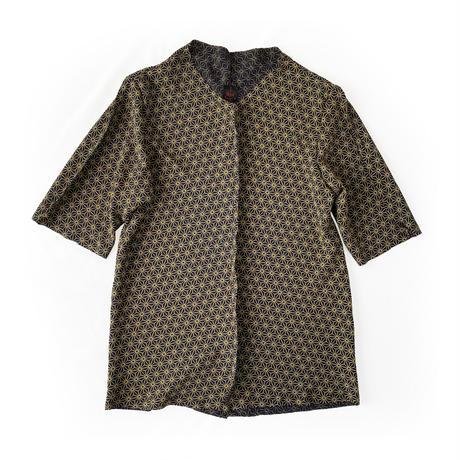 燐シャツ七分袖 〈ちりめん麻の葉 金〉 men's