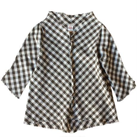燐シャツ 七分袖 〈ブラウンギンガム〉