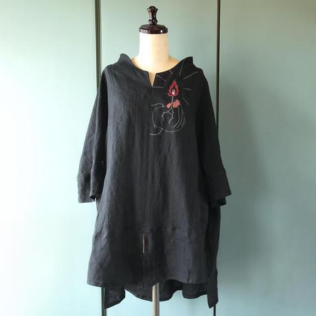 「燐寸に火」麻シャツ 黒