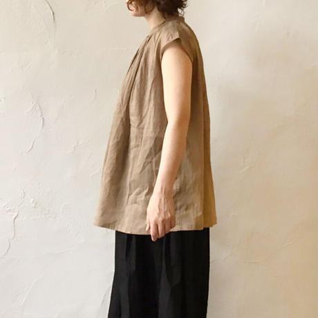 ichi 210114 リネンコットンピンタックフレンチスリーブシャツ