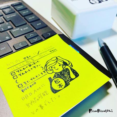 *再販予定は2月初旬です【50mm角シャチハタOSMO】マロンちゃんの伝言メモ【黒インク】