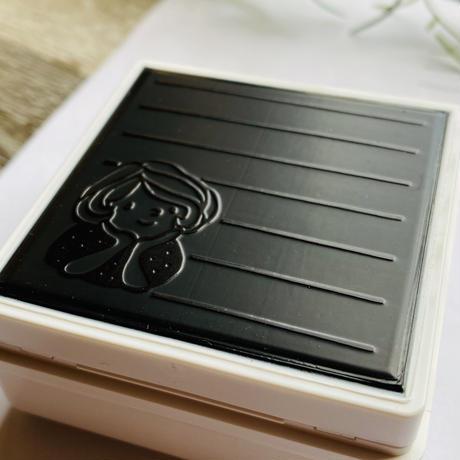 【50mm角】ほおづえマロンちゃんメモ 50㎜×50㎜☆浸透印【黒インク】