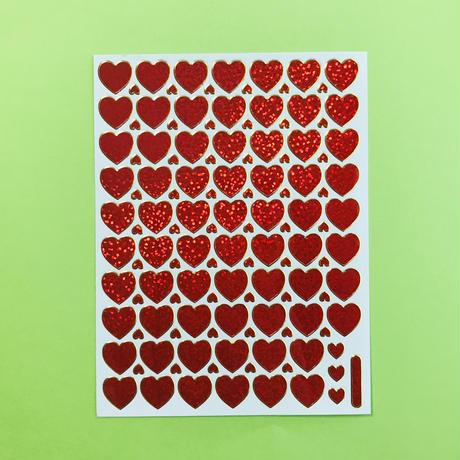 ミニハート 赤 キラキラ シール RED MINI HEART STICKER