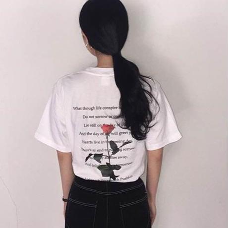 バラ Tシャツ 可愛い バックプリント