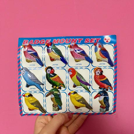 [再入荷] 鳥 ブローチ 12個セット バッチ 可愛い レトロ bird badge