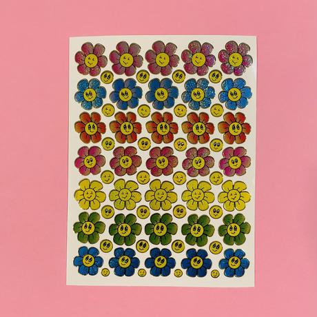 スマイル 花 薄い色 キラキラ シール SMILE FLOWER STICKER
