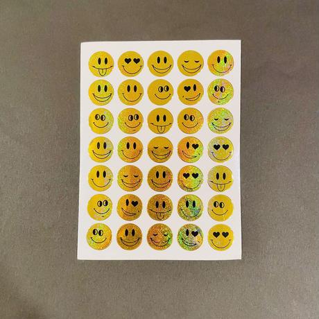 スマイル 黄色 ③ キラキラ シール SMILE YELLOW STICKER