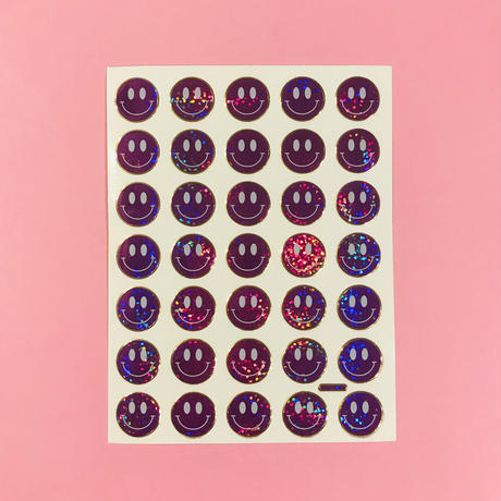 スマイル 紫 ② キラキラ シール  SMILE STICKER PURPLE