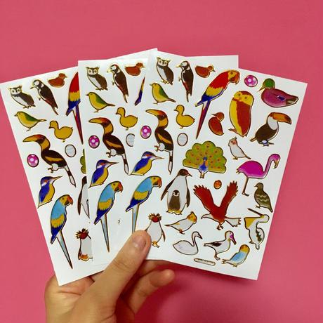 鳥 キラキラ シール 3枚セット BIRD STICKER