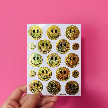 スマイル 黄色② キラキラ シール SMILE YELLOW STICKER