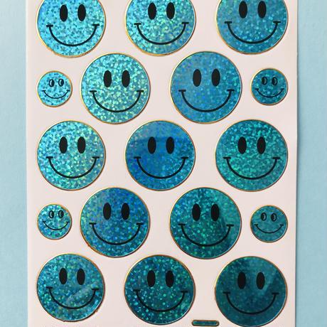 スマイル 水色 キラキラ シール  SMILE STICKER LIGHT BLUE