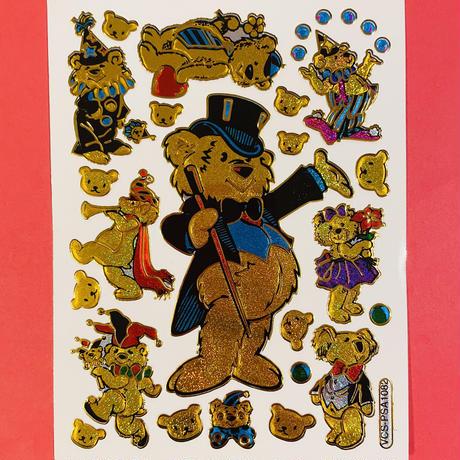 金色のクマ ② キラキラ シール  GOLD COLOR BEAR STICKER