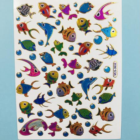 魚 ③ キラキラ シール FISH STICKER