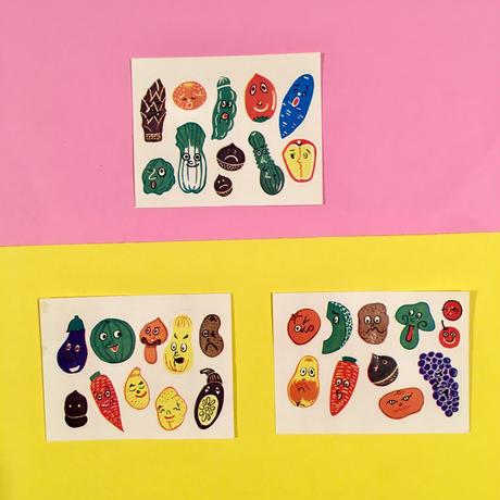 野菜シール ステッカー 3枚セット ベジタブル vegetable sticker  ②