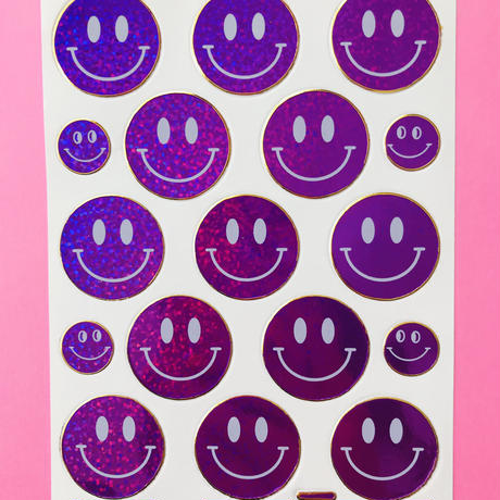 スマイル 紫 キラキラ シール  SMILE STICKER PURPLE