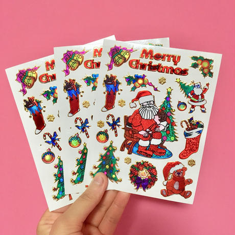 クリスマス キラキラ シール 3枚セット Christmas sticker
