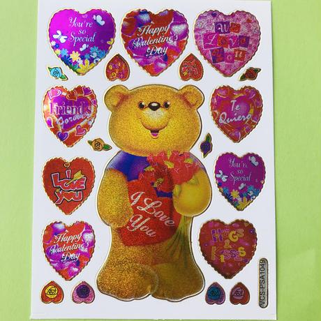 クマ バレンタイン キラキラ シール BEAR VALENTINE'S DAY STICKER
