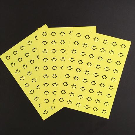 スマイル シール 3枚セット ステッカー 蛍光 黄色