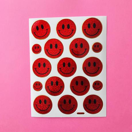 スマイル 赤 キラキラ  シール SMILE STICKER RED
