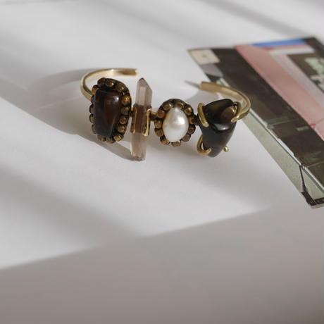 「Smoky quartz×Fresh water pearl×Apache tear」Gemstones bangle