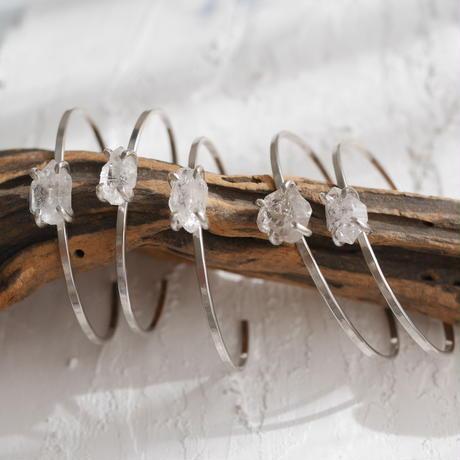 Tiny Harkimar diamond bangle -Silver
