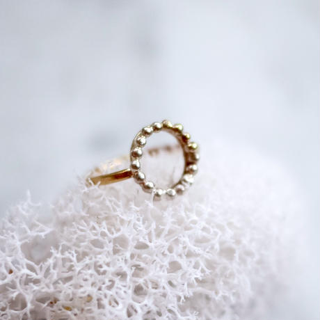 Silver×brass dot ring