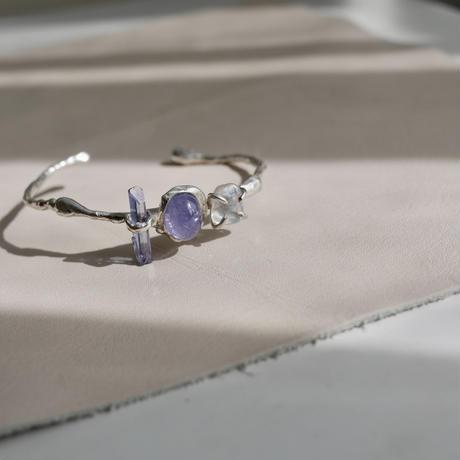 Iolite×Aura quartz bangle-925