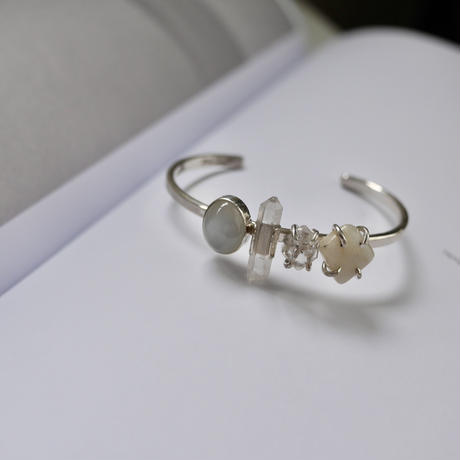 Moonstone×Crystal×Harkimer diamond bangle-925