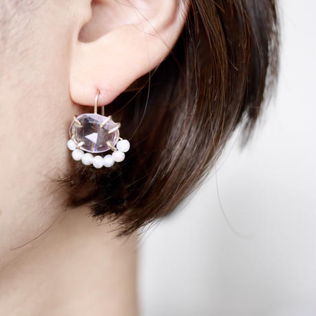 Amethyst×Fresh water pearl earrings