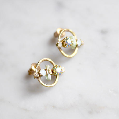 Tourmaline×Vintage Swarovski earrings