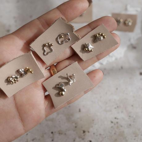 Silver×brass earrings
