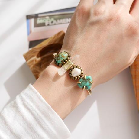 「Turquoise×Crystal×Fresh water pearl」Gemstones bangle