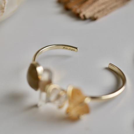 「Rutile Quartz×Crystal×Harkimer diamond×Citrine」Gemstones bangle