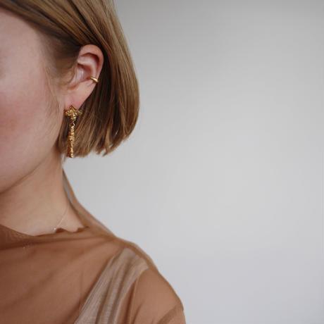 Pearl cross tassel earrings
