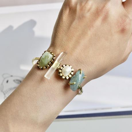 「Beryl×Crystal×Freshwater pearl」Gemstones bangle
