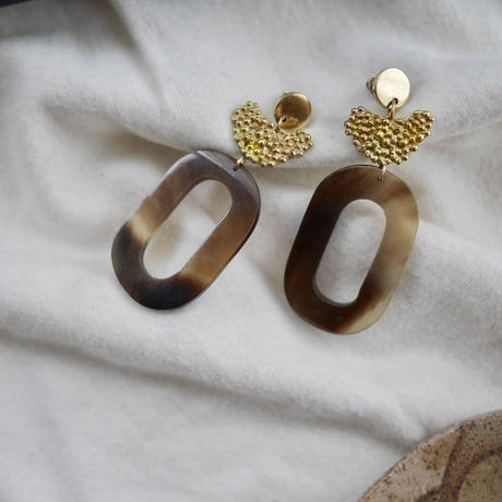Buffalo horn dot earrings