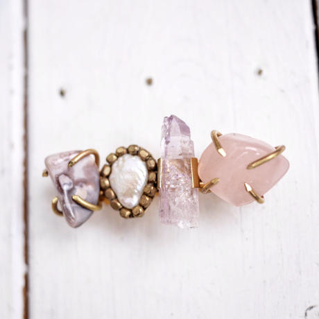 Gemstone barrette「Spring」