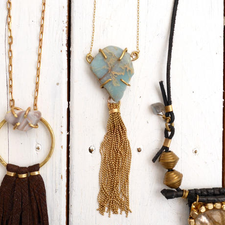 African opal×tassel necklace