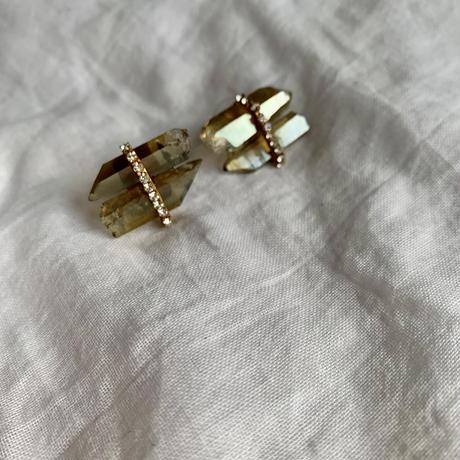 Champagne aura × Vintage Swarovski earrings