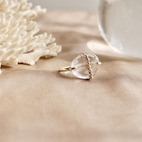 Crystal dot 925 double finger ring