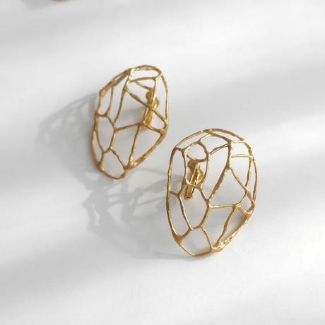 Brass mineral earrings