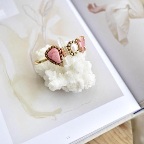 「Inca rose×Crystal×Fresh water pearl」Gemstones bangle