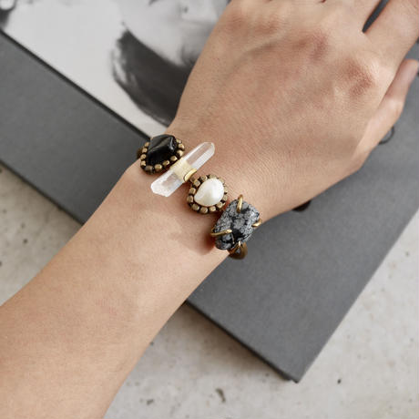 「Obsidian×Crystal×Fresh water pearl×Snow flake obsidian」Gemstones bangle