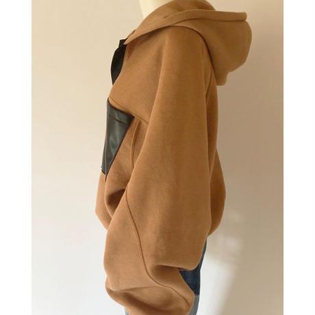 washable wool hooded sweatshirts(brown)