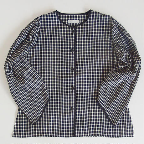classic puff sleeves piping blouse